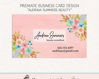 flower business card florist business card beauty business card make up business card premade business card calling card social card