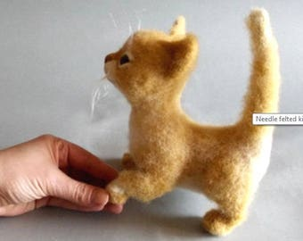 Ginger tabby cat Life size kitten Needle felted cat Poseable cat doll Made to order Gift for girlfriend