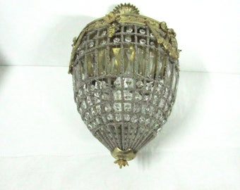 French Empire Glass/Bronze/Brass/Crystal Chandelier French Cage/Basket Chandelier Pendant