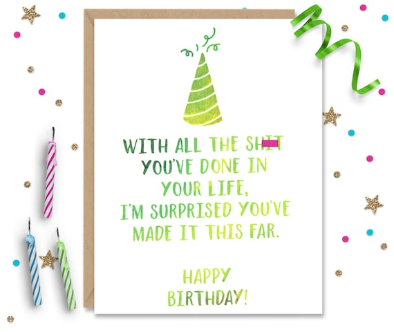 Mature Birthday Card Funny Bday Card Card for Sister Card