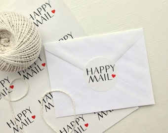 """2"""" Round Happy Mail Stickers, Sheet of 20, Glossy, Happy Mail Seals, Envelope Seals, Happy Mail Labels,  Happy Mail Packaging, Stickers"""