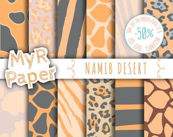 "Animal Digital Paper: ""NAMIB DESERT"" pack of backgrounds - jungle, animal, safari, zoo, animals, giraffe, leopard, zebra, tiger, cow"