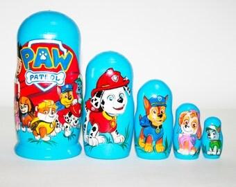 Nesting doll PAW patrol for kids signed matryoshka russian dolls