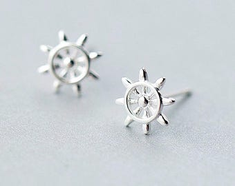 Ship Wheel Stud Earrings,Sterling Silver Ship Helm Stud, Rudder Stud Earrings,Sailor Boat  Earrings,Anchor jewelry,Nautical Jewelry