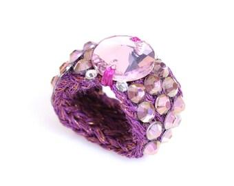 Swarovski ring, Glamour ring, Knitted ring, bespoke ring, stretch ring, crochet ring, yarn ring, purple ring, women ring, Swarovski
