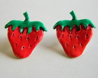 Ceramic Summer Red/Green Strawberries Pierced Earrings