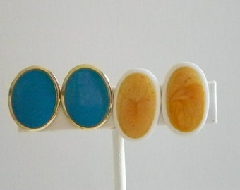 Sky Blue & Peach Oblong Pierced Earrings
