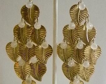 Long Gold Tone Leaf Dangle Beaded Pierced Earrings