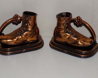 Vintage Bronzed Baby Shoe Bookends High Button Shoes