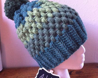 Puff Stitch Hat Large Green