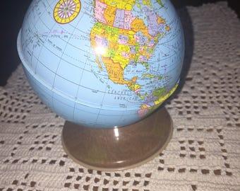 Vintage Ohio Art metal globe bank