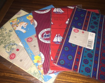 Lot of vintage American Greetings gift Wrap, 5 assorted prints
