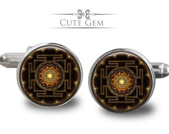 SUPER SALE - Sri Yantra - Silver Glass Cufflinks