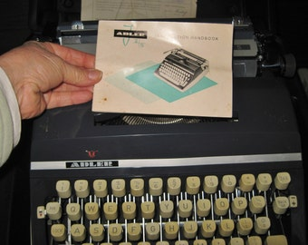 Vintage J 5 ADLER Typewriter Mid Century with Hard Case German Made & instruction book and Bill of sales