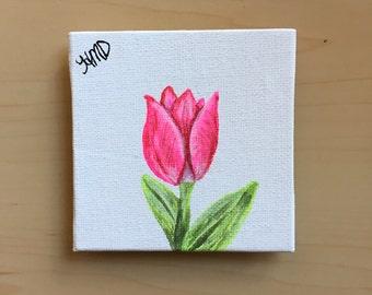 Mini canvas magnet, canvas magnet, magnet, tulip magnet, tulip painting, mini canvas painting, mini painting, housewarming gift