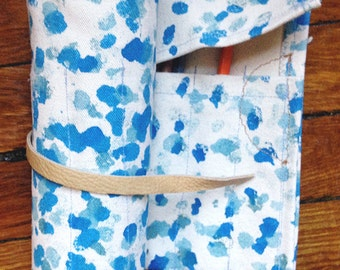 blue rain roll up pencil case
