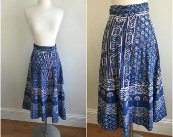 Vintage 1970s India Imports Cotton Gauze Hand Blocked Wrap Midi Skirt XS - M
