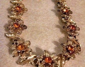 Pretty Orange Rhinestone Necklace, Gifts Under 40.00, Gifts for Her, Vintage Necklace, Rhinestone Necklaces,Accessories, Vintage Jewelry,Her