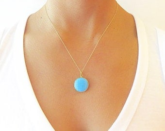 Turquoise Necklace  - Bridesmaid Jewelry - Turquoise Pendant Necklace - Gold Necklace