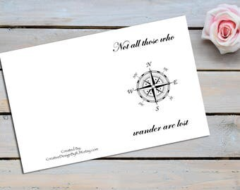 Not all those who wander are lost, blank note cards