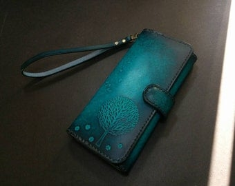 tree birds Leather Wallet - Vegetable leather,Wallet,flower Women wallet,Pouch,Purse,handmade,womens wallet,ladies wallet