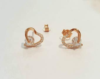 hearts stud earrings, rose gold and white zircons, 925 sterling silver