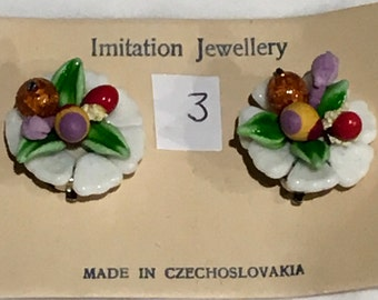 Vintage Deadstock Fruity Novelty Milk Glass Clip On Earrings Style no.3