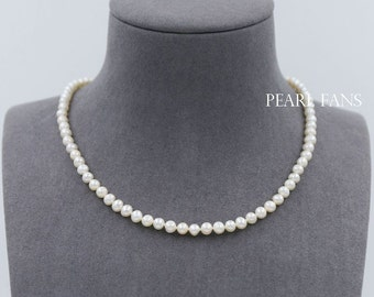 5-5.5mm, Children's Freshwater pearl necklace, Baby necklace, Girls Necklace, Kids Jewelry, Bridal pearl necklace, 925 Silver clasp