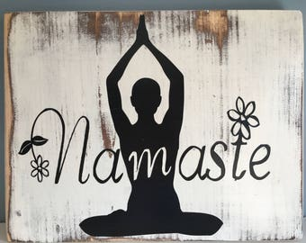 Namaste or Mind Body Soul Rustic Yoga Signs
