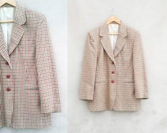 70s Mens Jacket Plaid Sports Coat Brown Vintage Tweed Jacket \  Vintage Mens Jacket 1970s Overcheck Sack Wool Jacket Blazer Ivy Style M 42