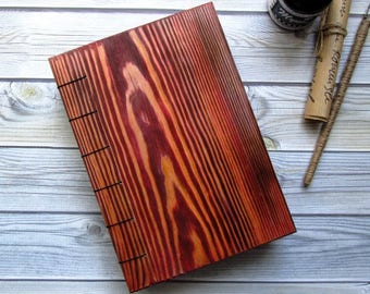 Notepad handmade wooden cover, exclusive handmade gift,book for records from aged wood,Wedding accessory for recording.