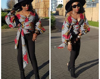 Towani Creations Ankara African Fabric Wrap Top With Exaggerated Ruffle Puff Sleeves  Size S,M,L