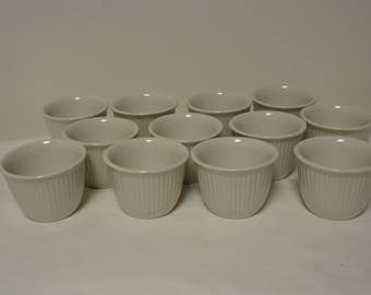 Set of 12 Vintage Hall Ribbed Custard Cups