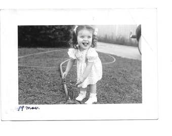 "Vintage Photo ""Ready For Sprinkler Fun"" cute little girl, child, old photo, black and white photo, snapshot, photography, paper ephemera"