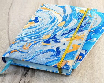 Marble journal Gift for women Blue notebook A5 journal Fabric notebook Marble fabric Journal handmade Marble diary Blank journal stationary