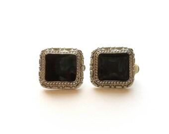 Vintage Silver Southwest Style with Black Enamel Clip On Earrings