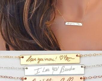 Handwriting Necklace • Family Keepsake • Custom Personalized Engraved Signature • Personalized Memorial Handwriting Bar  • Girlfriend Gift