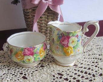 Royal Albert ROSETIME Chintz Crown China Mini Creamer and Open Sugar Bowl - Made in England