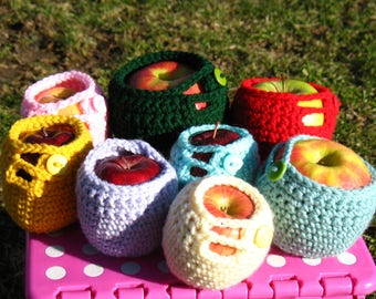 Set of 3 Different Sizes Crochet Apple Cozy/ Apple jacket, Size L, M & S