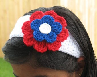 Crochet 4th Of July Head Band For Girls/Women.