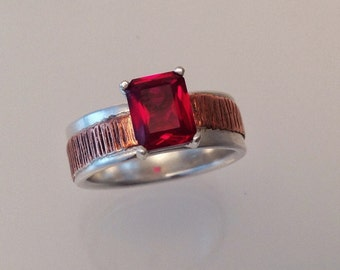 January Birthstone Ring- Garnet Ring, Red Garnet Ring, Solitaire Ring