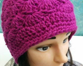 Fuchsia crochet hat