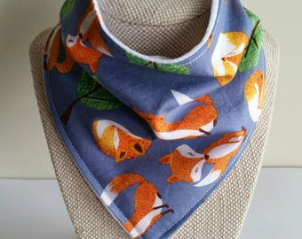 Foxes baby bandana  bib, cotton upper, plain white minky backing, Australian Handmade