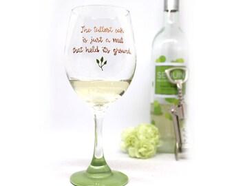 Painted Wine Glasses, Inspirational Gift, Wine Glasses, Greenery