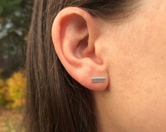 Modern Minimalist Bar Stud, Small Simple Sterling Silver Earring, Line Stud Stick Earring, Everyday Earring Sensitive Skin, Straight Stud