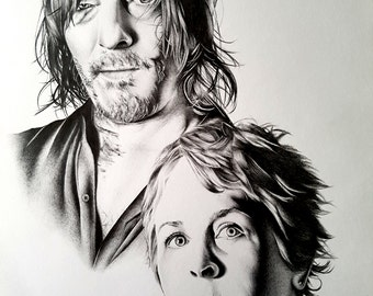 Daryl and Carol - The Walking Dead Pencil Portrait Drawing Print