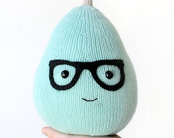 Kawaii Pear PDF Knitting Pattern - Knitted Pear Plushie Cute Knit Pear With 50's Glasses Childrens Room Decor Pear Plush Toy with faces