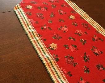 Poinsettias & Stripes Christmas Table Runner