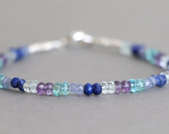 Amethyst Aquamarine Multi Gemstone Bracelet Beaded Bracelet Lapis Apatite Tanzanite Bracelet Stacking Bracelet February Birthstone