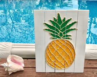 Handmade Pineapple with Rope Beach Pallet Art Coastal Decor Rope Art Pallet Art Pineapple Art
